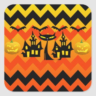 Cute Halloween Black Cat Haunted House Chevron Sticker