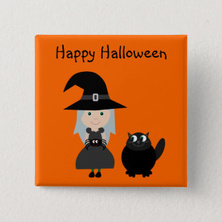 Cute Halloween Button With Witch, Spider & Cat