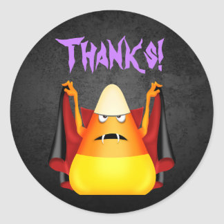 Cute Halloween Candy Corn Thanks! Thank You Classic Round Sticker