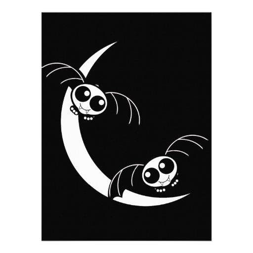 Cute Halloween Cartoon Bats With Moon Custom Invites