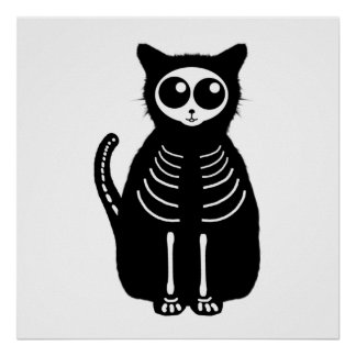 Cute Halloween Cartoon Cat Skeleton Poster