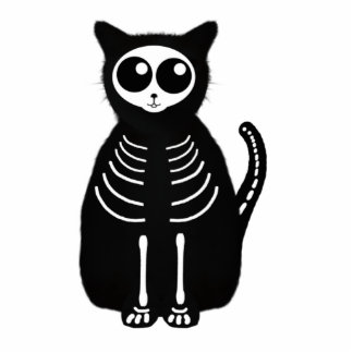 Cute Halloween Cartoon Cat Skeleton Standing Photo Sculpture