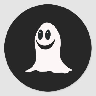 Cute Halloween Cartoon Ghost Classic Round Sticker
