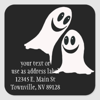 Cute Halloween Cartoon Ghosts Square Sticker