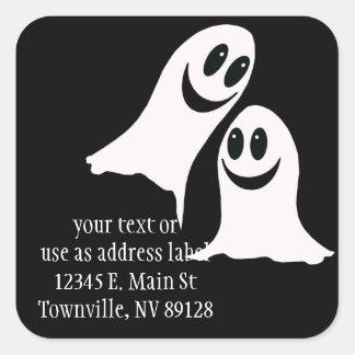 Cute Halloween Cartoon Ghosts Square Sticker