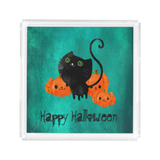 Cute Halloween cat with pumpkins Acrylic Tray