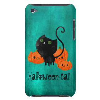 Cute Halloween cat with pumpkins Barely There iPod Case