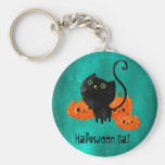 Cute Halloween cat with pumpkins Basic Round Button Key Ring