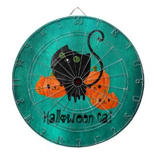Cute Halloween cat with pumpkins Dartboard