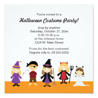 Cute Halloween Costume Party Invitations for Kids