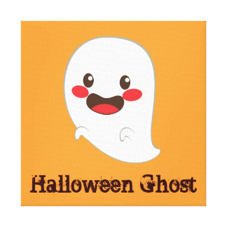 Cute Halloween Elements: Happy Ghost Stretched Canvas Prints