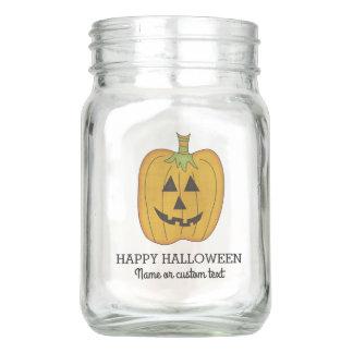 Cute Halloween Funny Pumpkin Jack O Lantern Custom Mason Jar