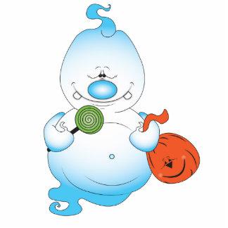 Cute Halloween Ghost Cartoon Photo Sculpture Badge