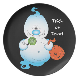 Cute Halloween Ghost Cartoon Plate