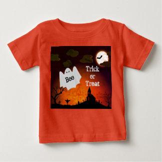 Cute Halloween Ghost Print Kids Orange T-Shirt