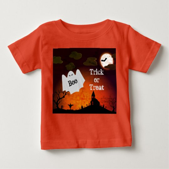 Cute Halloween Ghost Print Kids Orange T-Shirt