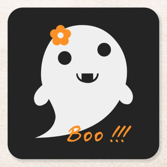 Cute Halloween Ghost Square Paper Coaster