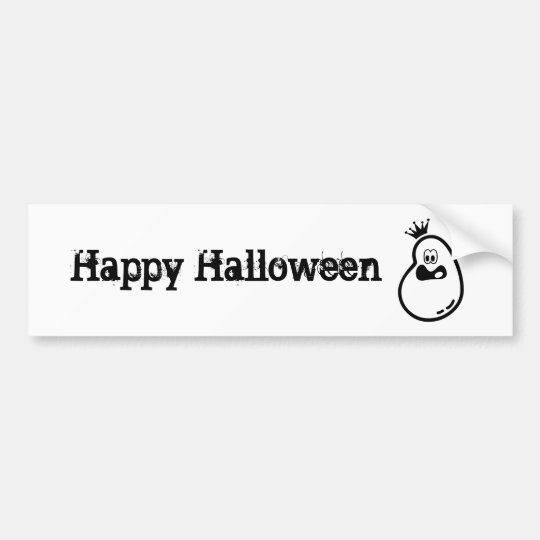 Cute Halloween Ghost with crown Bumper Sticker