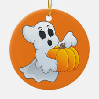 Cute Halloween Ghost with pumpkin Christmas Ornament