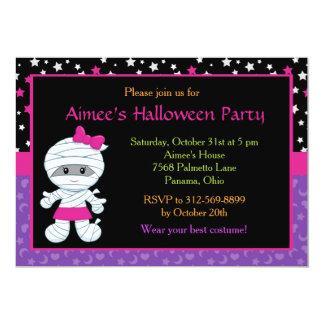 Cute Halloween Girl Mummy Costume Party Card