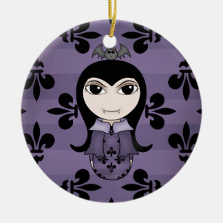 Cute Halloween gothic vampire girl in purple Christmas Ornament