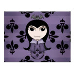 Cute Halloween gothic vampire girl in purple Postcards