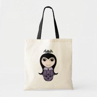Cute Halloween gothic vampire girl in purple Tote Bag