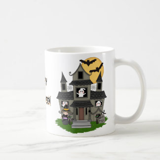 Cute Halloween haunted house and little witch mug