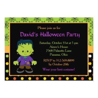 Cute Halloween Monster Boy Costume Party Card
