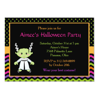 Cute Halloween Monster Girl Costume Party Card