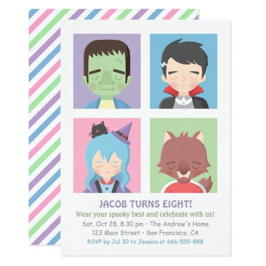 Cute Halloween Monster Kids Party Invitations