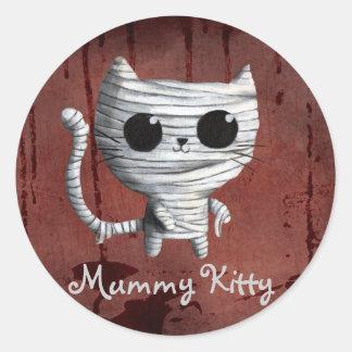 Cute Halloween Mummy Cat Round Sticker