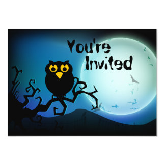 Cute Halloween Owl Baby 1st Birthday Invite