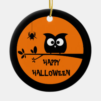 Cute Halloween Owl + customised background colours Christmas Ornament