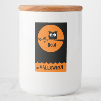 Cute Halloween Owl + customised background colours Food Label