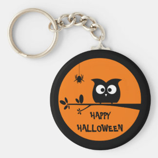 Cute Halloween Owl + customised background colours Key Ring