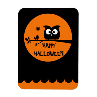 Cute Halloween Owl + customised background colours Magnet