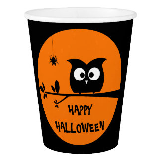 Cute Halloween Owl + customised background colours Paper Cup