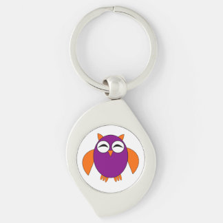 Cute Halloween Owl Keychain Silver-Colored Swirl Key Ring