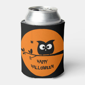Cute Halloween Owl with customised Moon colours Can Cooler