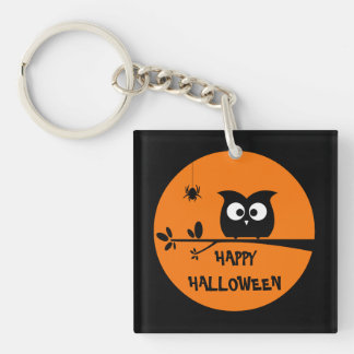 Cute Halloween Owl with customised Moon colours Key Ring