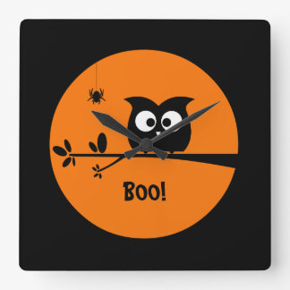 Cute Halloween Owl with customised Moon colours Square Wall Clock