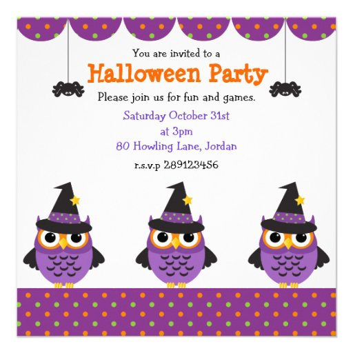 Cute Halloween Owls Party Invitations