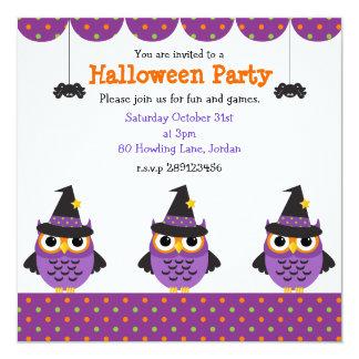 "Cute Halloween Owls Party Invitations 5.25"" Square Invitation Card"