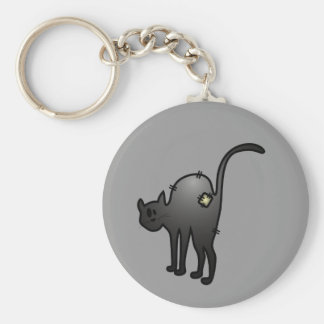 CUTE HALLOWEEN PATCHY CAT - BLACK KITTY BASIC ROUND BUTTON KEY RING
