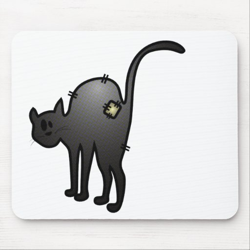 CUTE HALLOWEEN PATCHY CAT - BLACK KITTY MOUSEPAD