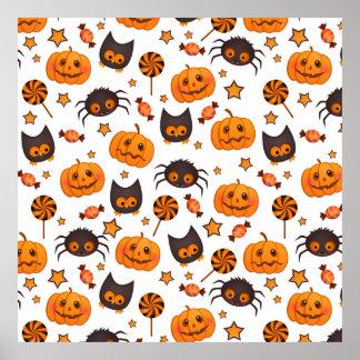 Cute Halloween Pattern Illustration Posters