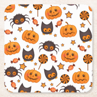 Cute Halloween Pattern Illustration Square Paper Coaster