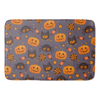 Cute Halloween Pattern Purple Background Bath Mat