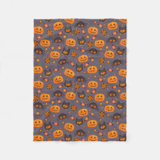 Cute Halloween Pattern Purple Background Fleece Blanket